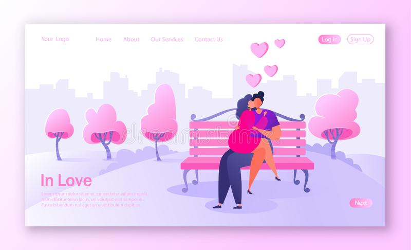 Concept of landing page on love story theme. Happy flat people character sitting on the bench, embrace and kiss. Valentines Day banner with flat characters and royalty free illustration