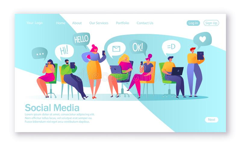 Concept of landing page on social media theme. Vector illustration for mobile website development and web page design. stock illustration
