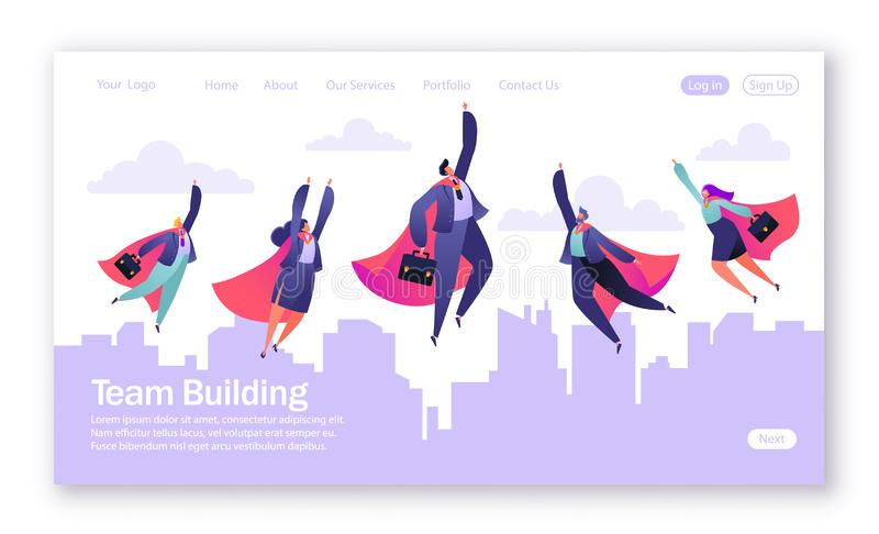 Concept of landing page on teamwork theme. Vector illustration for mobile website development and web page design. vector illustration