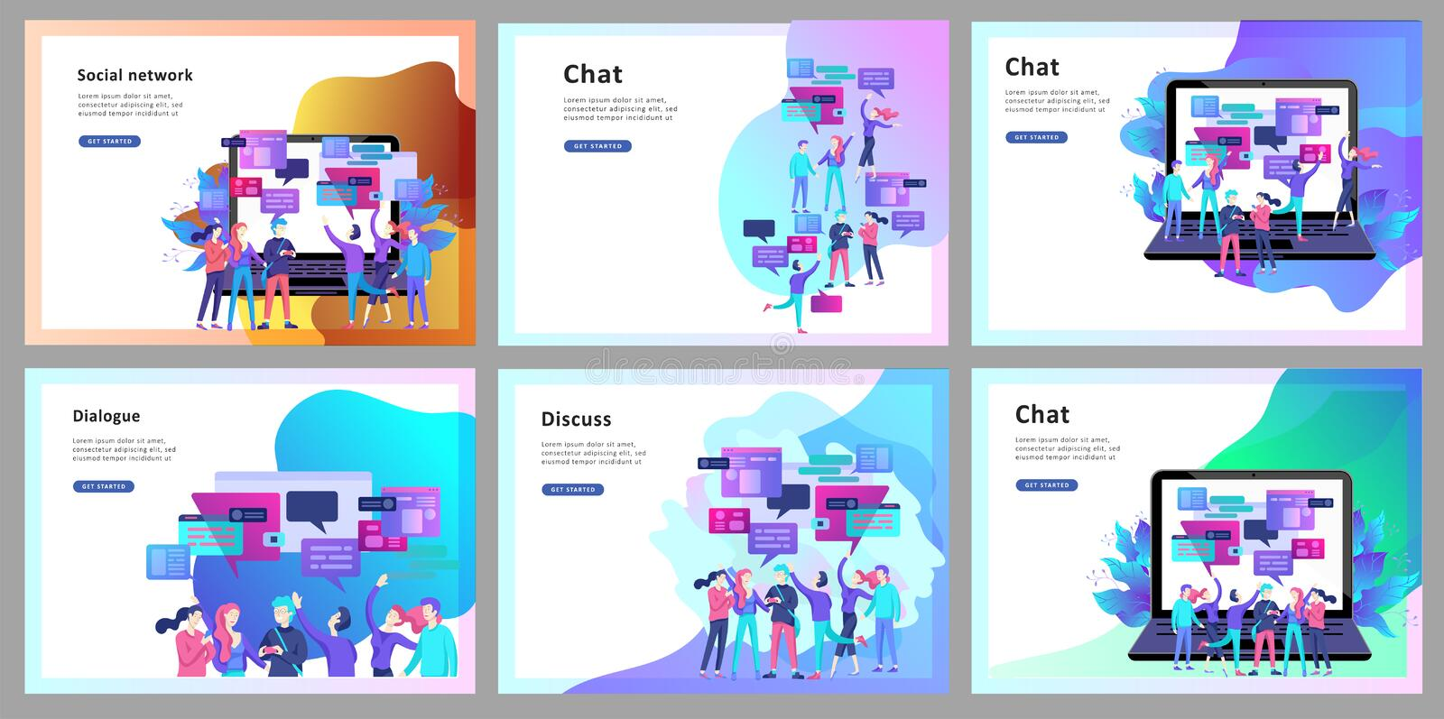 Concept Landing page template, flat style, businessmen discuss social network, news, social networks, chat, dialogue speech. Bubbles, new projects stock illustration