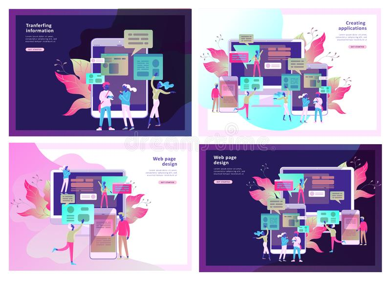 Concept Landing page template, flat style, businessmen discuss social network, news, social networks. Chat, dialogue speech bubbles, new projects vector illustration
