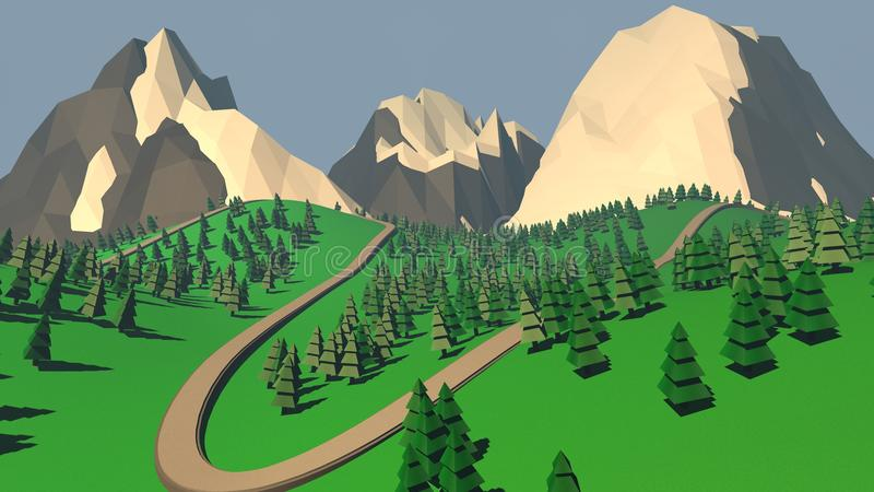 The concept of landscape with fir trees and snowy mountains. 3D vector illustration