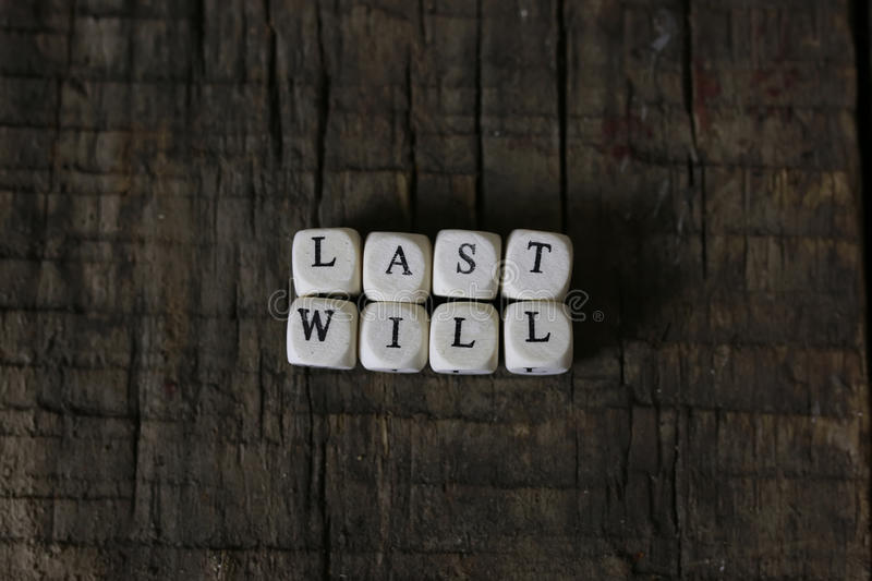 Concept last will and testament stock photography