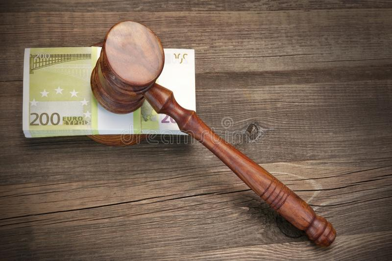 Concept For Law, Corruption, Bankruptcy, Bail, Crime, Fraud, Auction Bidding. Concept For Corruption, Bankruptcy Court, Bail, Crime, Bribing, Fraud, Auction stock image