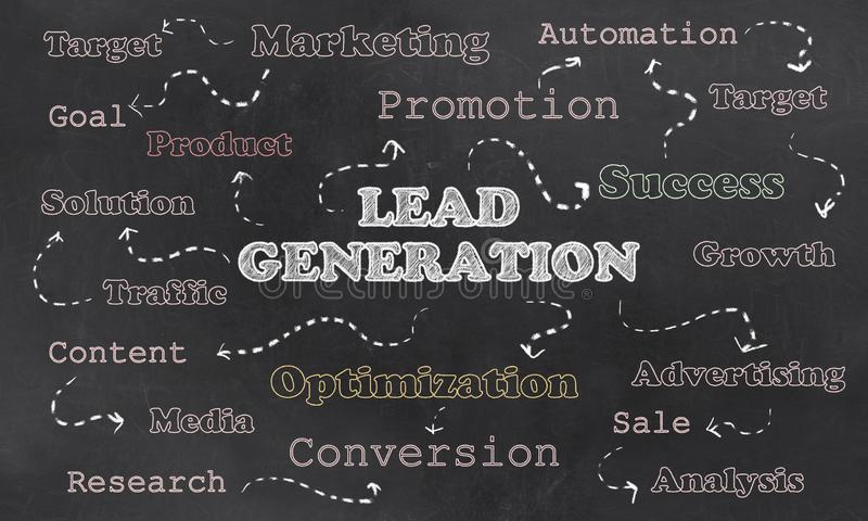 Concept of Lead Generation with Words on Blackboard vector illustration