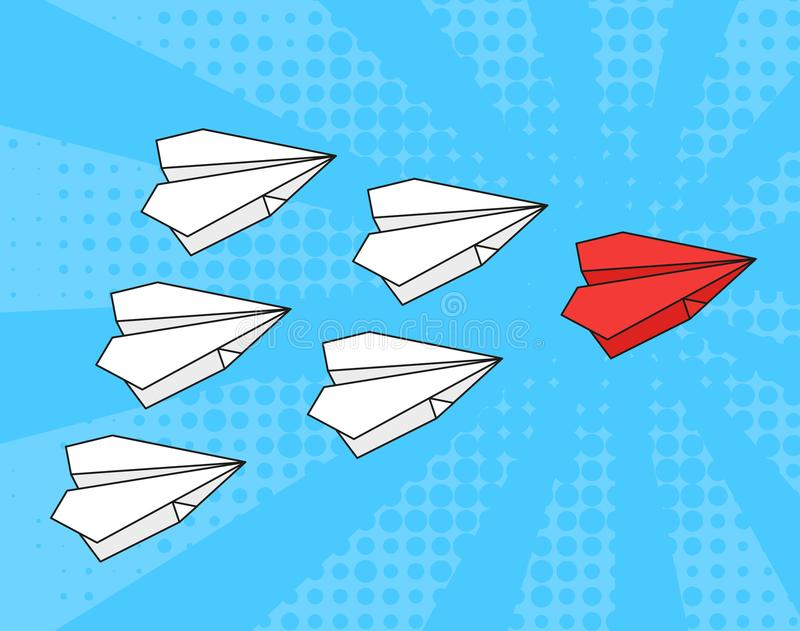 Concept of leadership. business strategy. Red paper airplane with white paper airplanes behind in blue sky. Pop art stock illustration