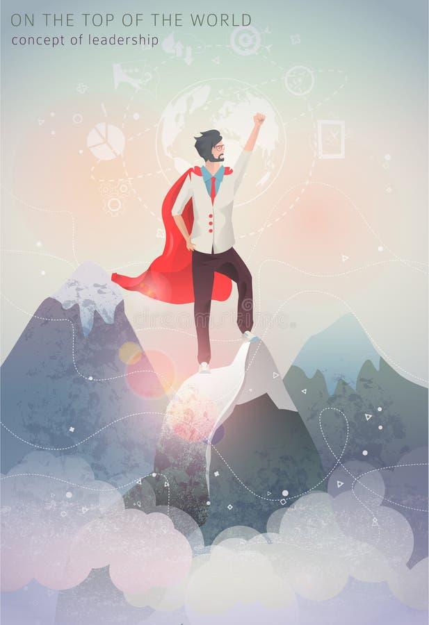 Concept of leadership. Hero man on the top of mountain. Winner. Flat vector illustration vector illustration