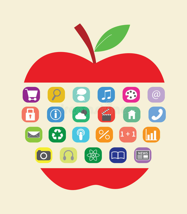 Concept of learning. With apple and colourful apps stock illustration