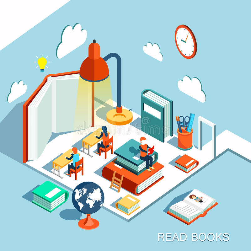 The concept of learning, read books in the library, isometric flat design vector illustration