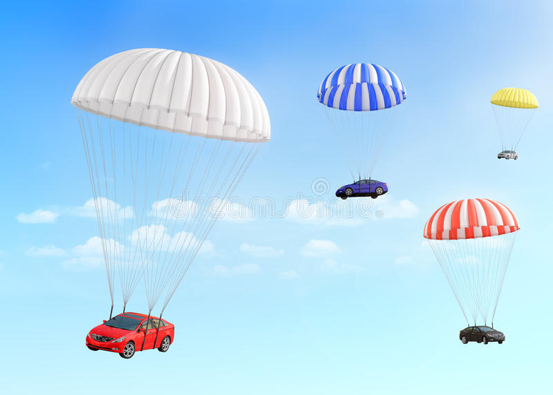 Concept of leasing. Fast delivery car. royalty free illustration