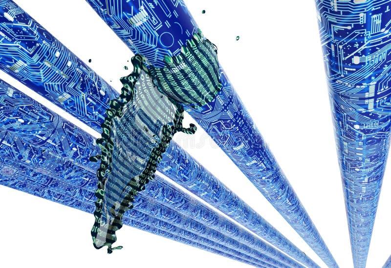 Concept lekke software, gegevens die van pijp uitgieten royalty-vrije illustratie