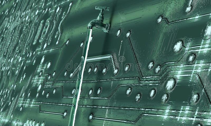 Concept lekke software, gegevens met een kraan die uit plakken vector illustratie