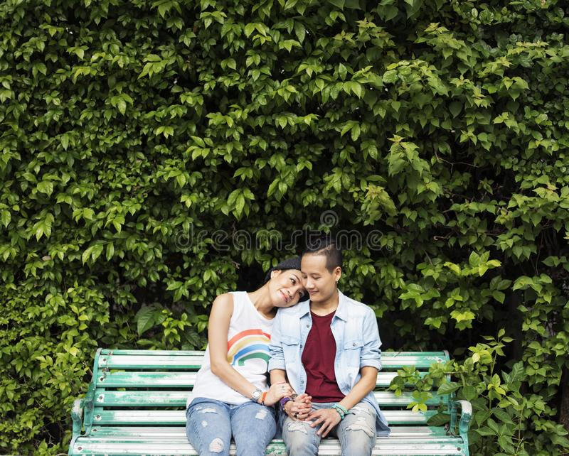 Concept lesbien asiatique de couples de LGBT photographie stock libre de droits