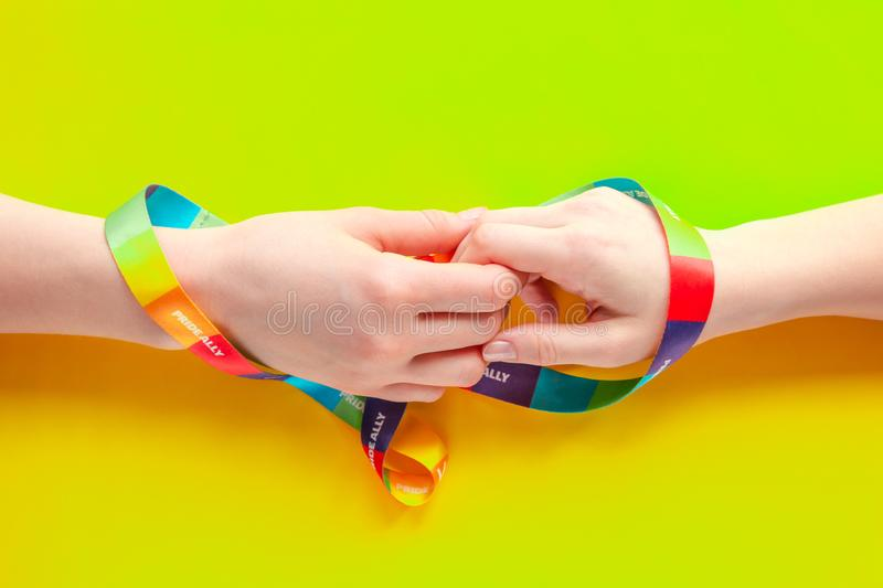 Concept of LGBT love and surrealism, nonconformism and young subcultures.  stock photo