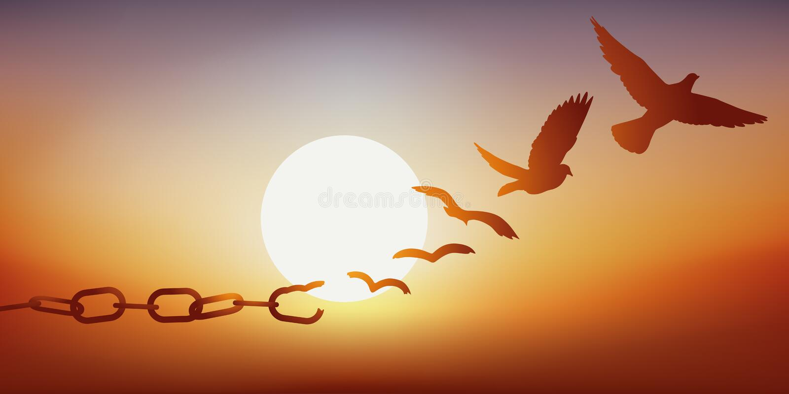Concept of liberation with a dove escaping by breaking its chains, symbol of prison. Concept of liberty found, with chains breaking and turning into a dove stock illustration