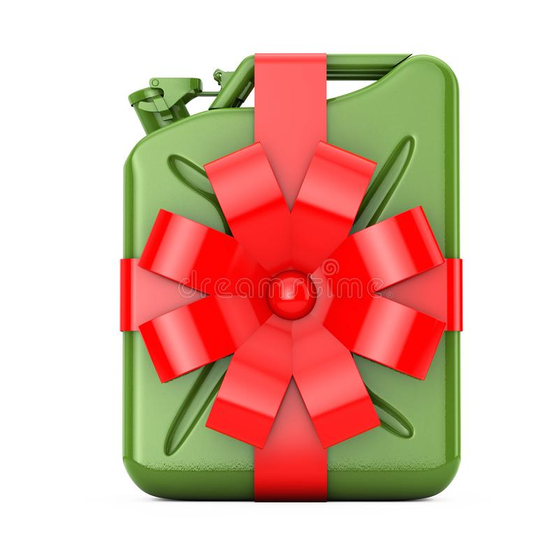Concept libre de carburant Jerrycan vert en métal avec le ruban et l'arc rouges rendu 3d images libres de droits