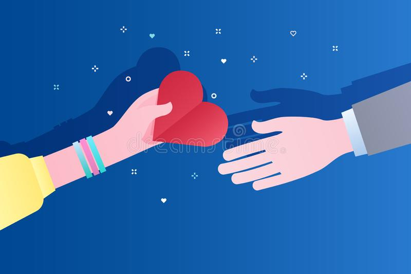 Concept liefdadigheid en schenking Geef en deel uw liefde aan mensen De hand van de vrouw geeft het symbool van hart aan stock illustratie