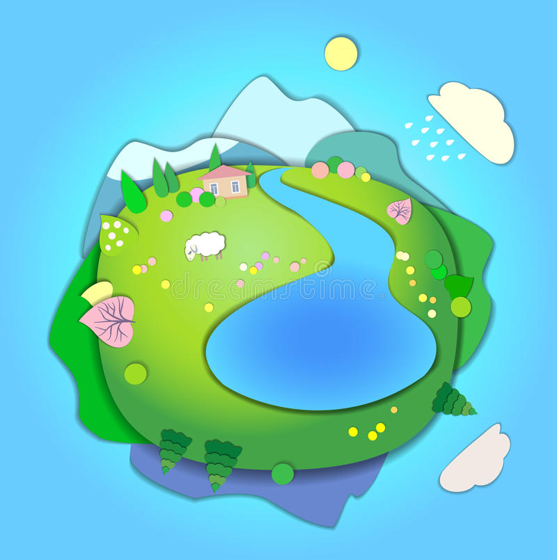 Concept of life cycle in nature, landscape scene in four different seasons of the year. Spring time stock illustration