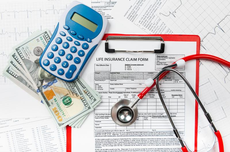 Concept for life planning. Health insurance application form with banknote and stethoscope concept for life planning royalty free stock photography