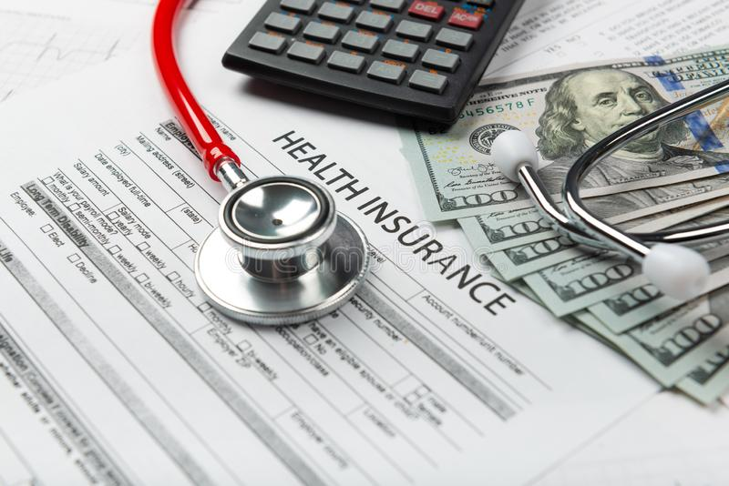 Concept for life planning. Health insurance application form with banknote and stethoscope concept for life planning royalty free stock photos