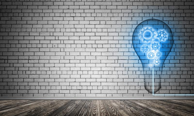 Concept of lightbulb as symbol of new idea. Blue glowing lightbulb with multiple gears inside placed in empty room with grey brick wall on background. 3D vector illustration