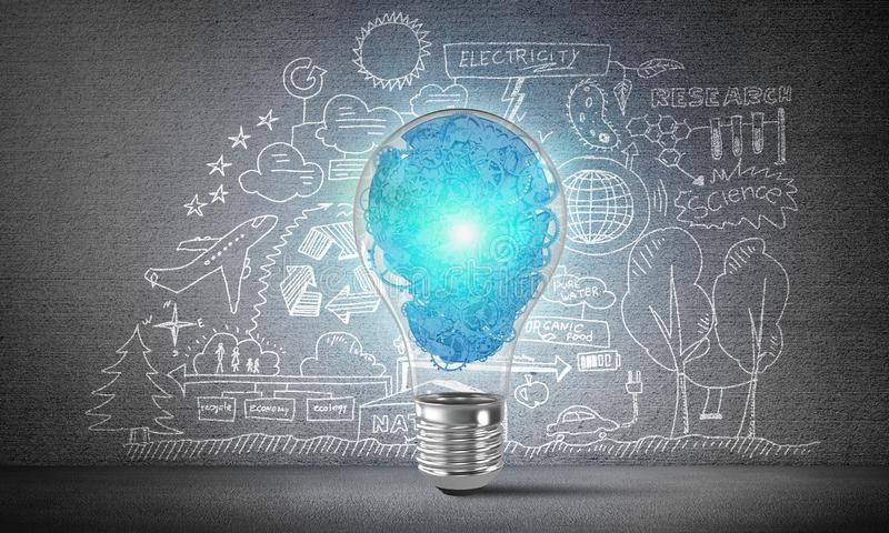 Concept of lightbulb as symbol of new idea. Lightbulb with multiple gears inside placed against eco-analytical information sketched on grey wall. 3D rendering stock illustration