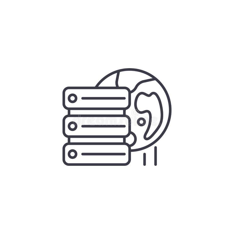 Concept linéaire à distance d'icône de serveur de base de données Ligne à distance signe de vecteur, symbole, illustration de ser illustration de vecteur