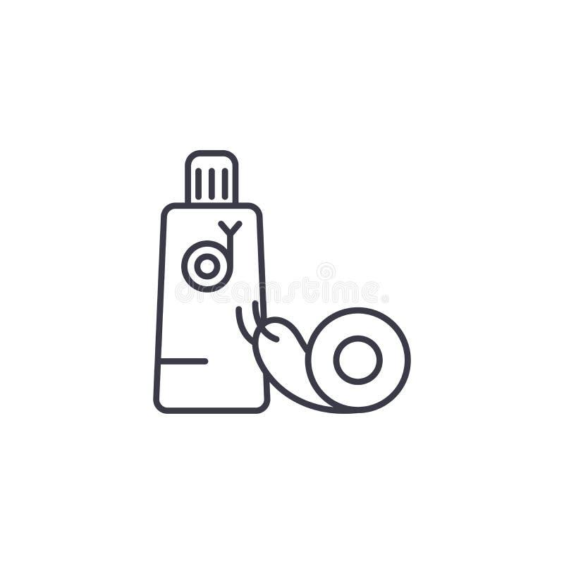 Concept linéaire crème d'icône d'escargot Ligne crème signe de vecteur, symbole, illustration d'escargot illustration libre de droits