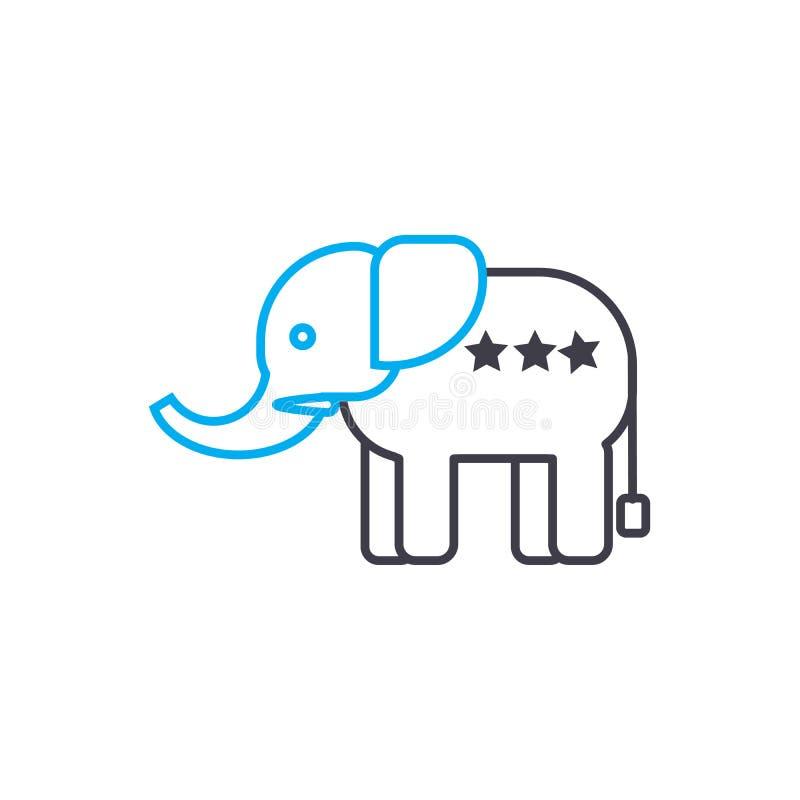 Concept linéaire d'icône d'éléphant d'Asie Ligne signe de vecteur, symbole, illustration d'éléphant d'Asie illustration de vecteur
