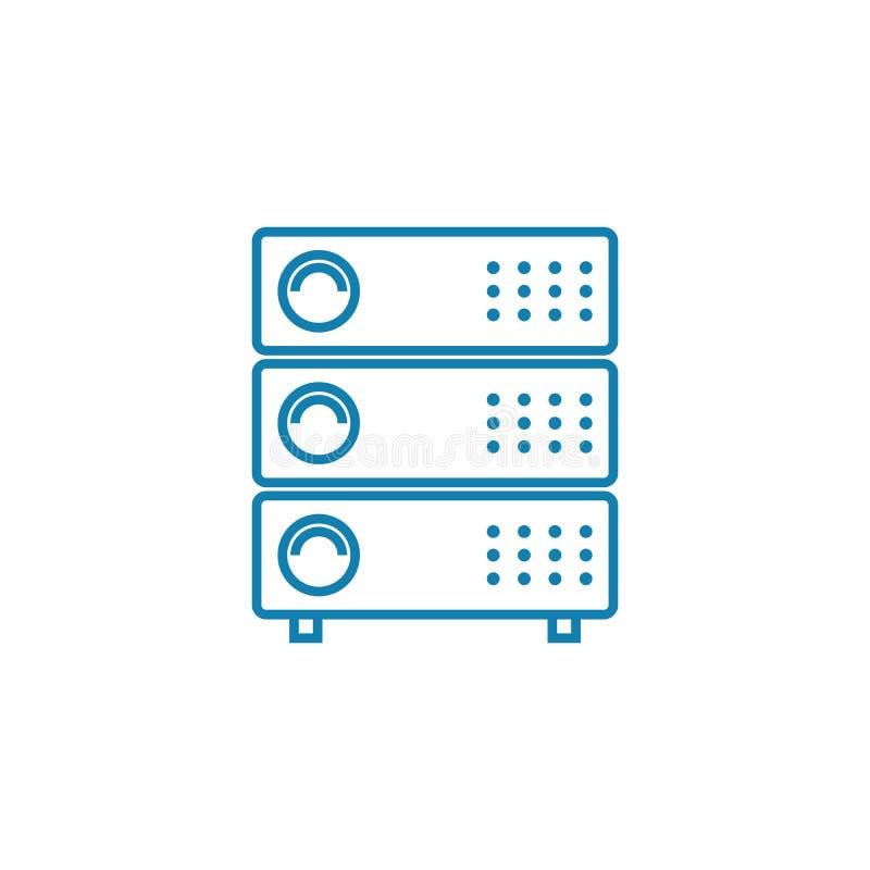 Concept linéaire d'icône d'équipement de serveur Ligne signe de vecteur, symbole, illustration d'équipement de serveur illustration stock