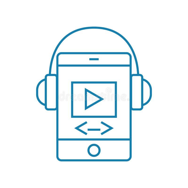Concept linéaire d'icône d'applications mobiles de media Les applications mobiles de media rayent le signe de vecteur, symbole, i illustration stock