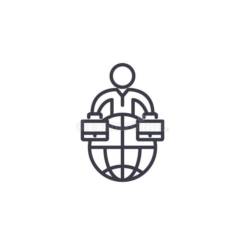 Concept linéaire d'icône d'association d'entreprises globale Ligne globale signe de vecteur, symbole, illustration d'association  illustration stock