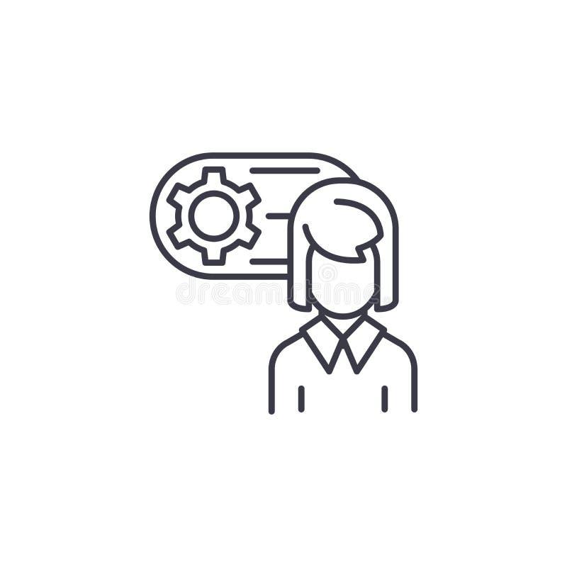 Concept linéaire d'icône d'avatar d'ingénieur Machinez la ligne signe de vecteur, symbole, illustration d'avatar illustration de vecteur