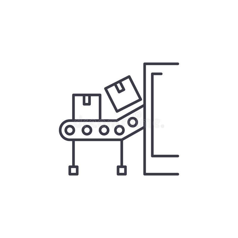 Concept linéaire d'icône de bande de conveyeur Ligne signe de vecteur, symbole, illustration de bande de conveyeur illustration de vecteur