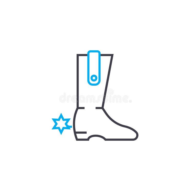 Concept linéaire d'icône de bottes de cowboy Les bottes de cowboy rayent le signe de vecteur, symbole, illustration illustration de vecteur