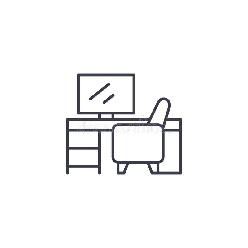 Concept linéaire d'icône de bureau d'ordinateur Ligne signe de vecteur, symbole, illustration de bureau d'ordinateur illustration stock