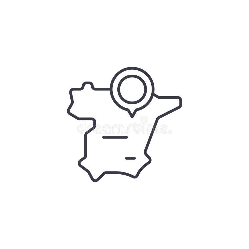 Concept linéaire d'icône de carte de l'Espagne Ligne signe de vecteur, symbole, illustration de carte de l'Espagne illustration stock