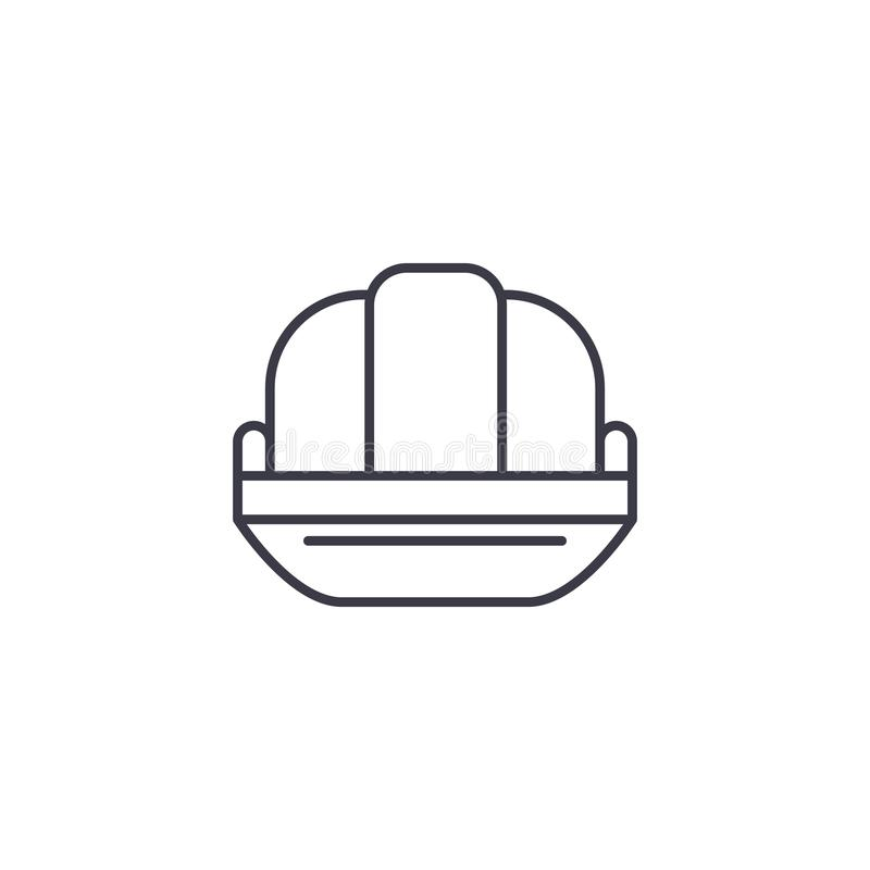 Concept linéaire d'icône de chapeau de bidon Ligne signe de vecteur, symbole, illustration de chapeau de bidon illustration stock