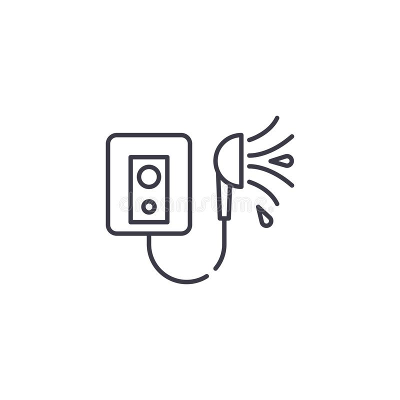 Concept linéaire d'icône de chauffe-eau de douche Versez la ligne signe de vecteur, symbole, illustration de chauffe-eau illustration de vecteur