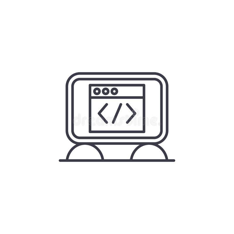 Concept linéaire d'icône de code source Ligne signe de vecteur, symbole, illustration de code source illustration libre de droits