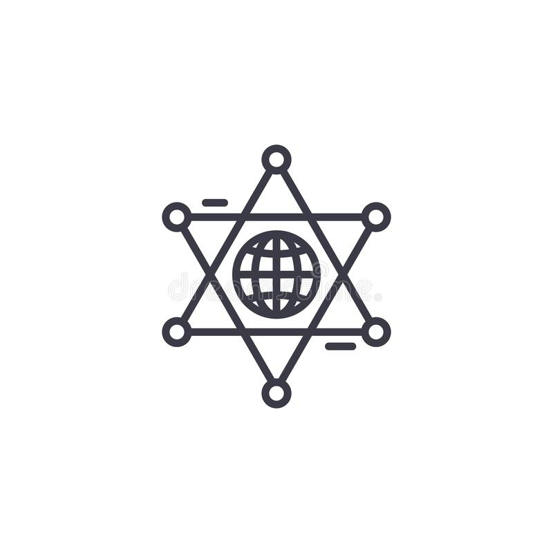 Concept linéaire d'icône de coopération globale Ligne globale signe de vecteur, symbole, illustration de coopération illustration de vecteur