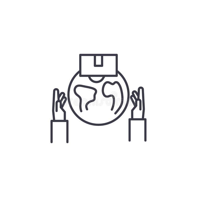 Concept linéaire d'icône de courrier international Ligne internationale signe de vecteur, symbole, illustration de courrier illustration libre de droits