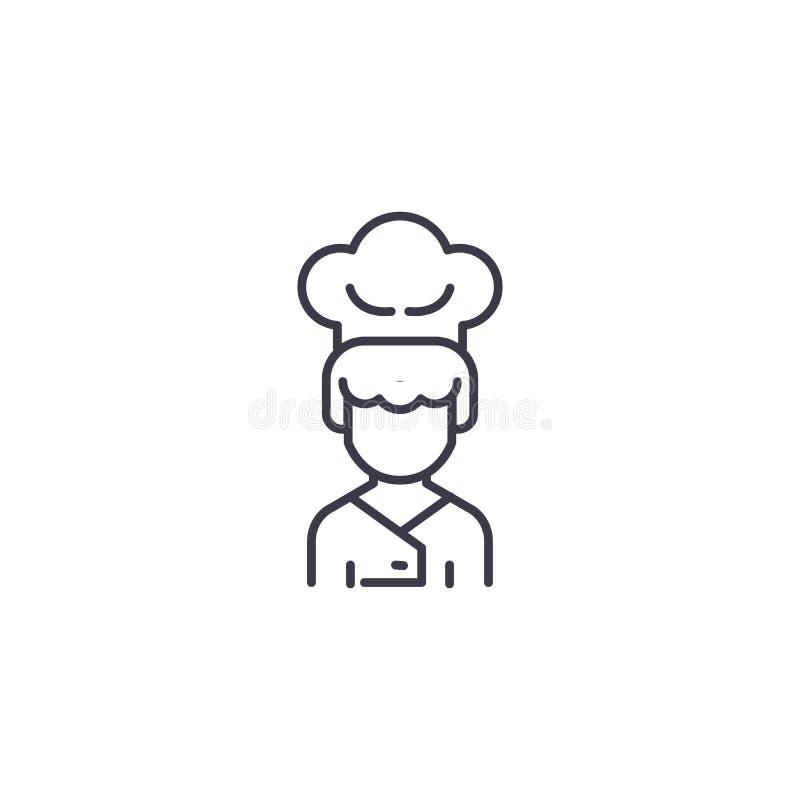 Concept linéaire d'icône de cuisinier Faites cuire la ligne signe de vecteur, symbole, illustration illustration libre de droits