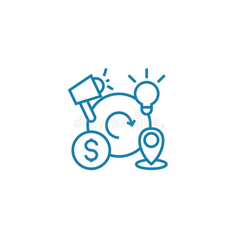 Concept linéaire d'icône de cycles conjoncturels Les cycles conjoncturels rayent le signe de vecteur, symbole, illustration illustration stock