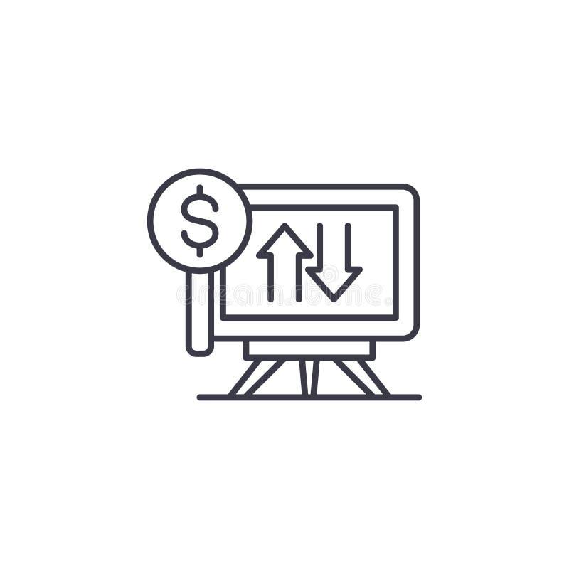 Concept linéaire d'icône de démonstration financière Ligne financière signe de vecteur, symbole, illustration de démonstration illustration stock