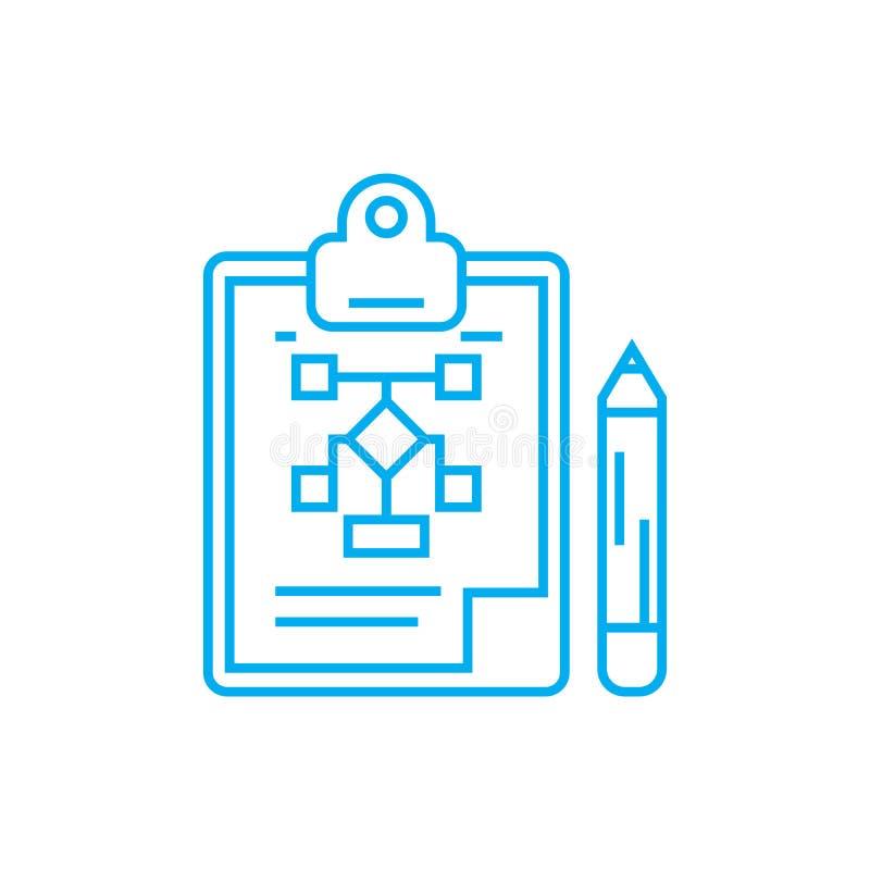 Concept linéaire d'icône de développement de structure organisationnelle Ligne signe de vecteur, symbole de développement de stru illustration de vecteur