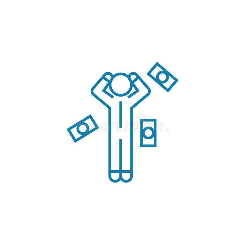 Concept linéaire d'icône de difficultés financières Les difficultés financières rayent le signe de vecteur, symbole, illustration illustration stock