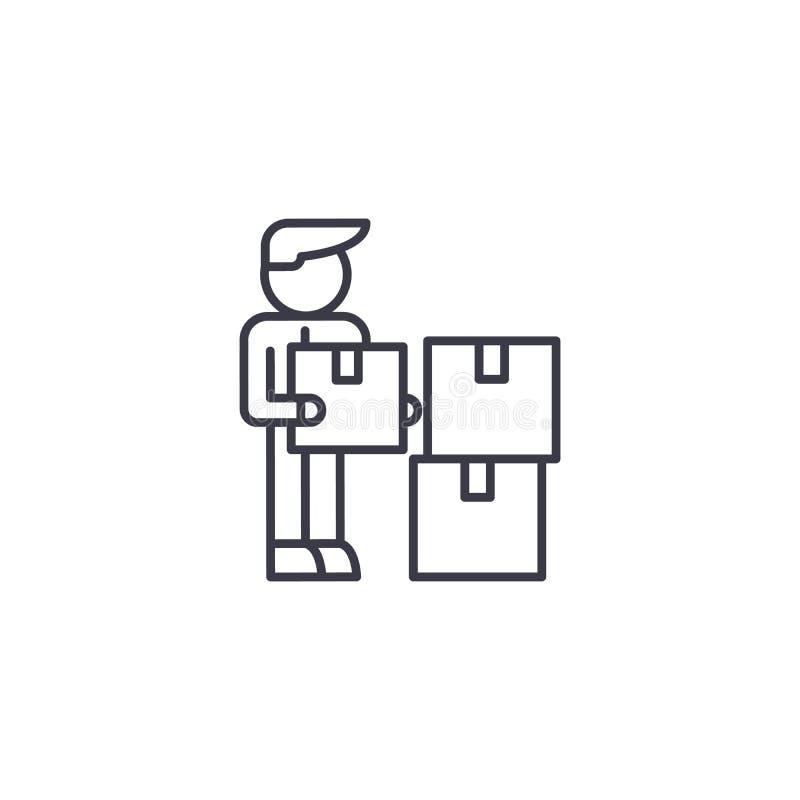 Concept linéaire d'icône de directeur de logistique Ligne signe de vecteur, symbole, illustration de directeur de logistique illustration de vecteur