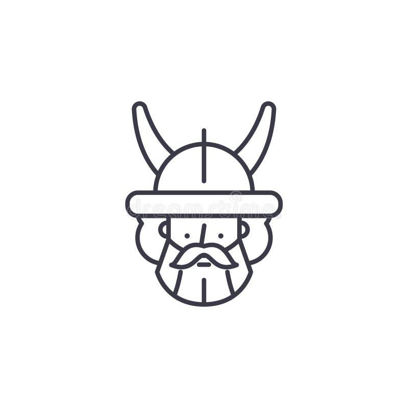 Concept linéaire d'icône de guerrier indien Ligne indienne signe de vecteur, symbole, illustration de guerrier illustration stock