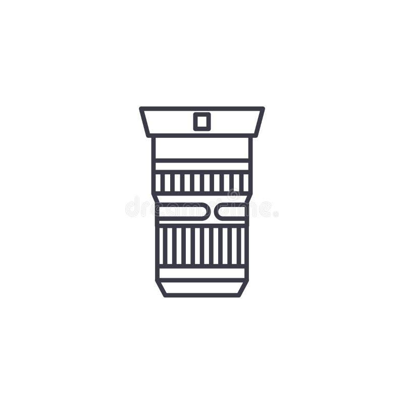 Concept linéaire d'icône de lentille photographique Ligne signe de vecteur, symbole, illustration de lentille photographique illustration libre de droits